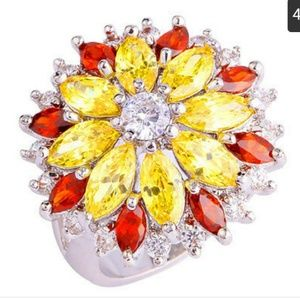 Citrine and yellow topaz flower ring